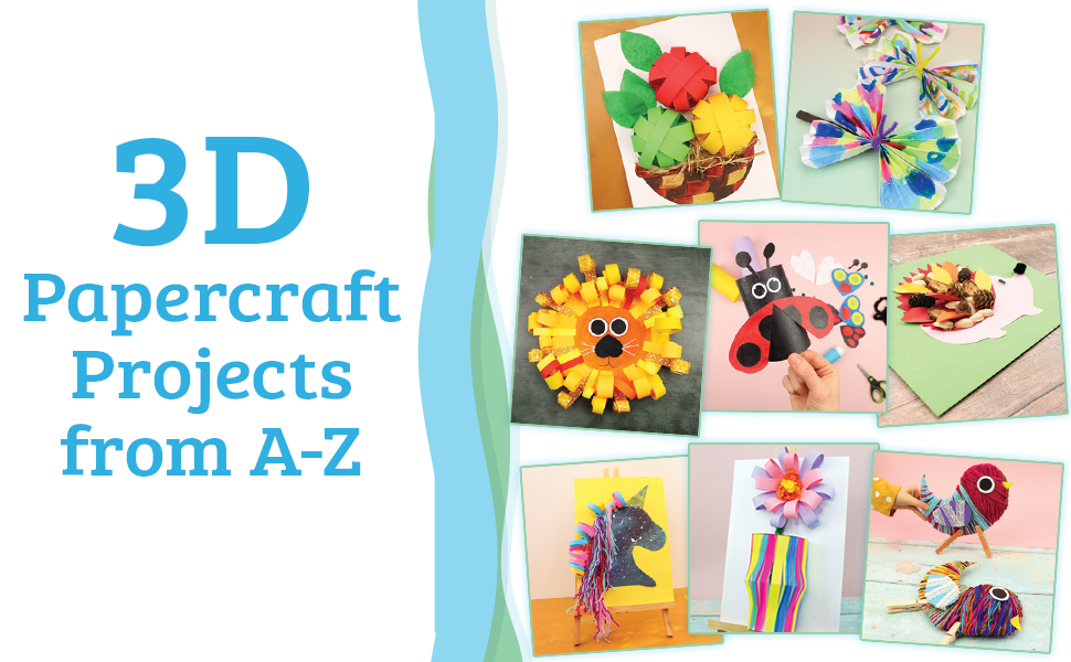 """A gallery spread of finished projects with the text, """"3D Papercraft Projects from A-Z."""""""
