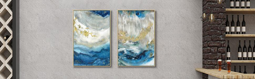 Abstract canvas wall art with golden framed