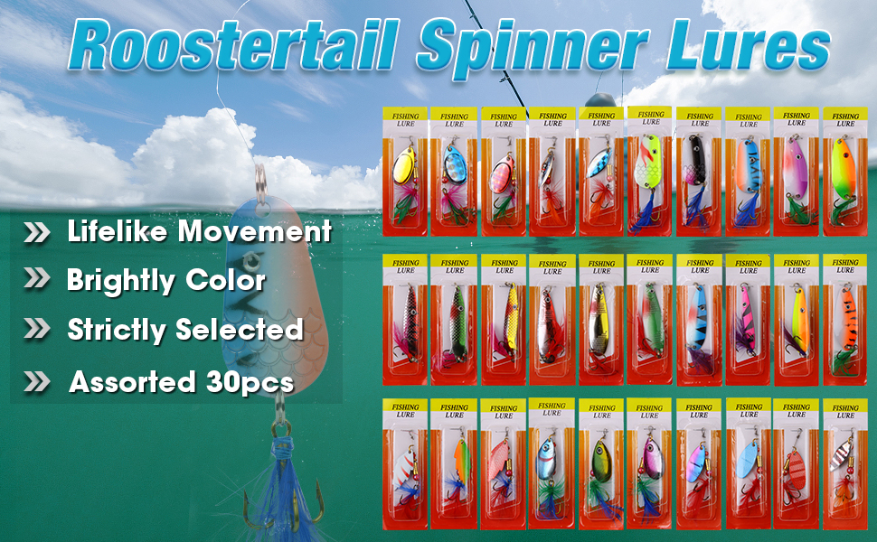 Roostertail Spinner Fishing Lures Kit