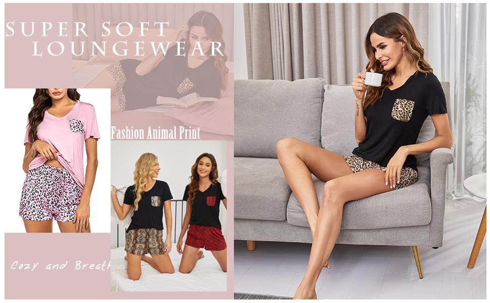 Animal Print Pajama Set for Women Shorts Sleepwear Soft Summer Pj Lounge Set Loungewear PJS