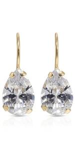 white cz earrings