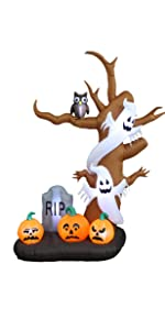 9 Foot Tall Halloween Inflatable Tree with Ghosts, Pumpkins, Owl and Tombstone