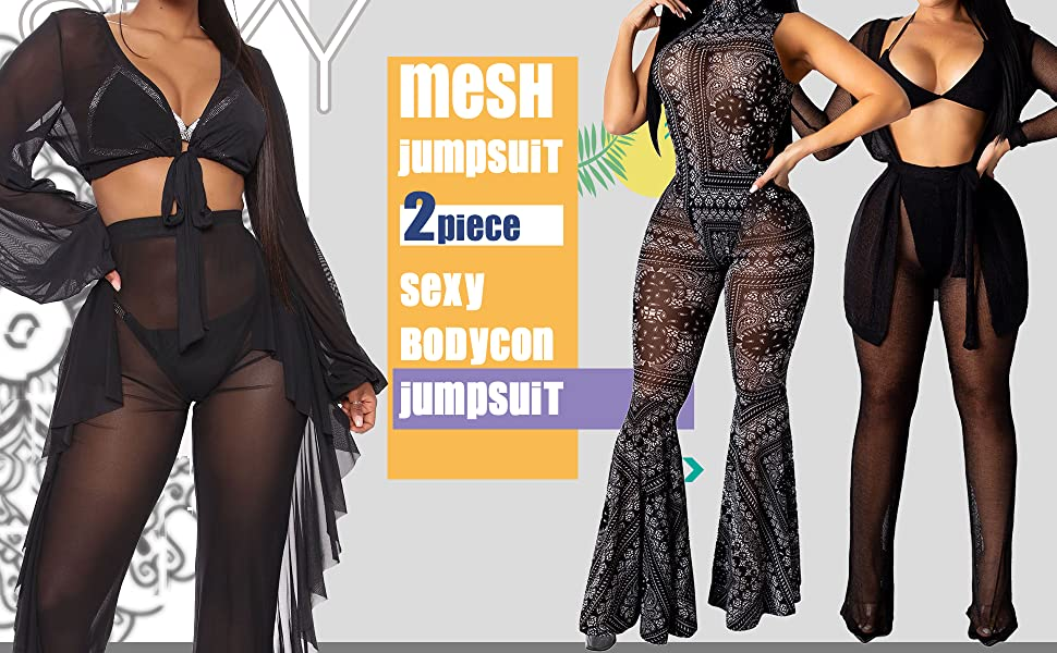 Women's Sexy Mesh Swimsuit Cover ups 2 Piece Outfits Solid Bikini Cover Up Summer Set