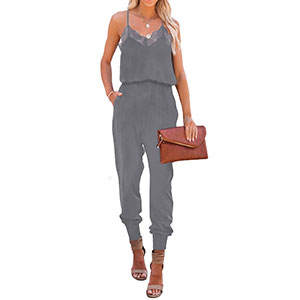 Women's Casual Solid Lace Tank Dark Grey Jumpsuits