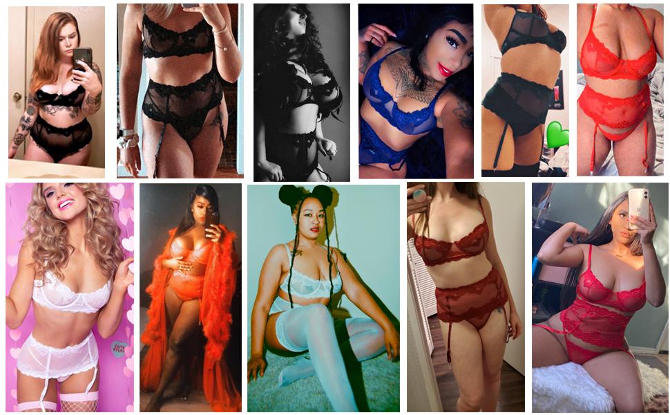 sexy garter lingerie set