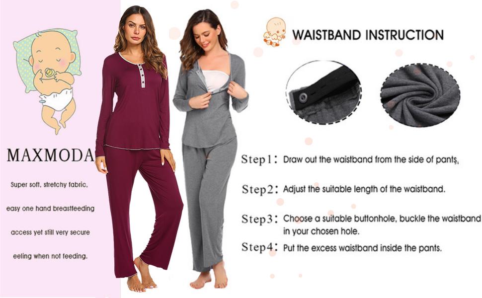 Ladies' pajamas and breastfeeding pajamas