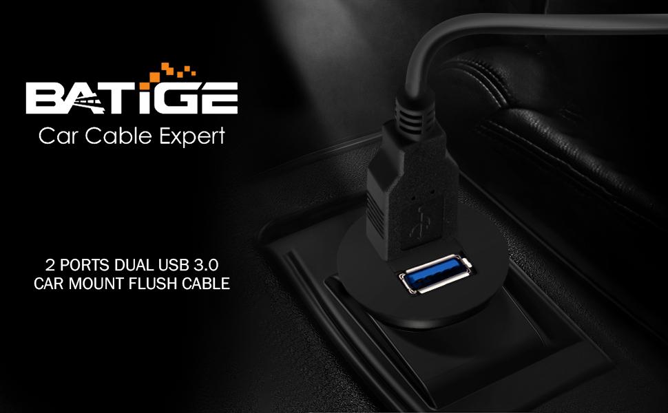 BATIGE - 2 PORTS DUAL USB 3.0 CAR MOUNT FLUSH CABLE