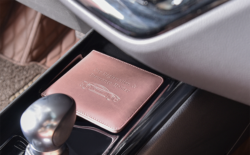 Leather Car Insurance and Registration Card Holder Vehicle Glove Box Automobile Documents