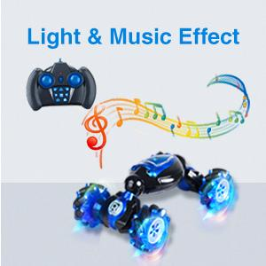 The double side driving rc car is with cool light and music.