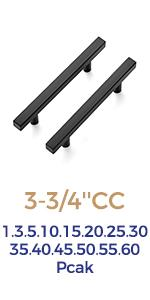 """Ravinte 6 Inch Square Cabinet Pulls Matte Black Stainless Steel Cabinet Handles 3-3/4"""" Hole Center"""