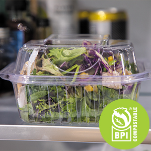 BPI certified clear container made from plants