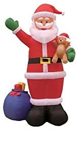 12 Foot Tall Huge Christmas Inflatable Santa Claus with Gift Bag and Bear