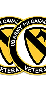 us army 1st cavalry division veteran decal 3 inch gold black white round decal
