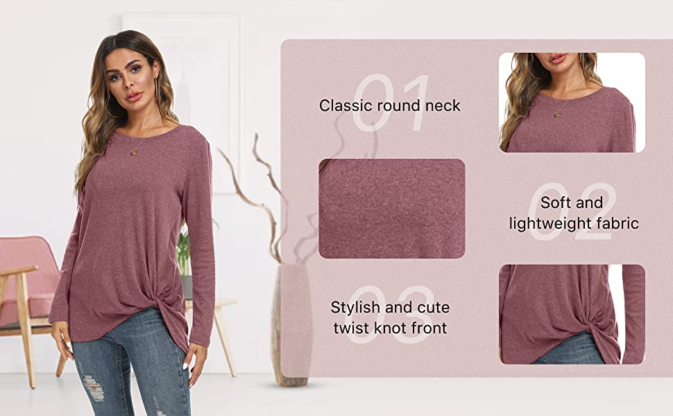 Womens Long Sleeve T Shirts Cute Casual Blouses Twist Knot Tunic Tops