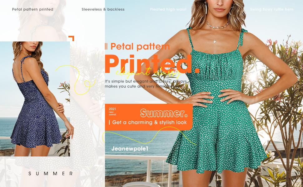Jeanewpole1 Womens Summer Cute Polka Dot Romper Strappy Shirred Flowy Jumpsuits