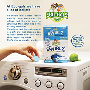 Here is an image showing a box of Eco-Swirlz Washing Machine Cleaner on top of a washing machine.