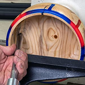 Turning Resin, Epoxy or Acrylic or wood on a lathe is simple with the Shear Cutting Finisher