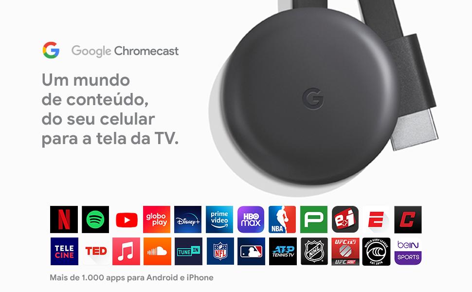 imagem de um Chromecast com o texto