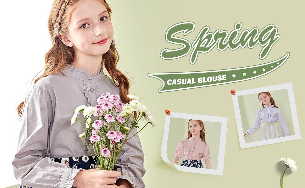 girls uniform casual style long-sleeve blouse