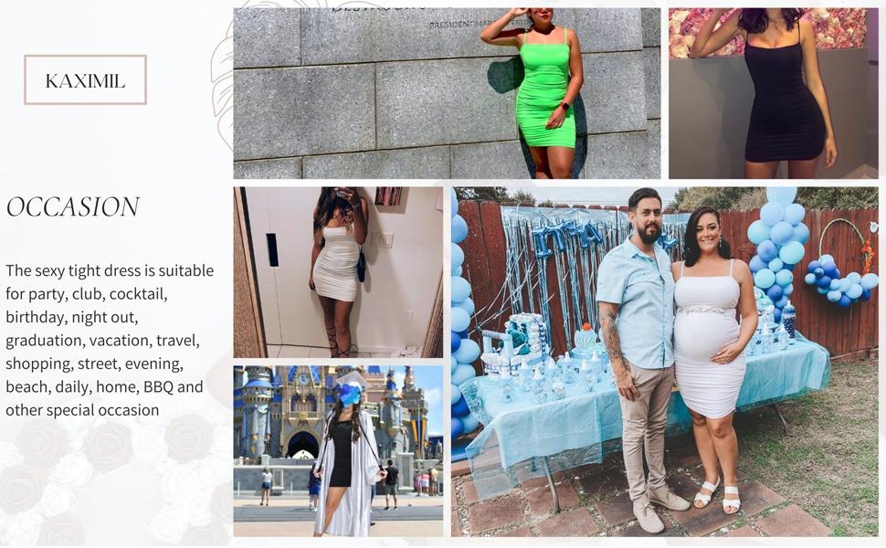 Sexy Bodycon Spaghetti Strap Ruched Mini Club Dresses