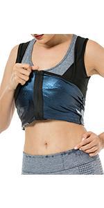 zipper sauna tank top for women