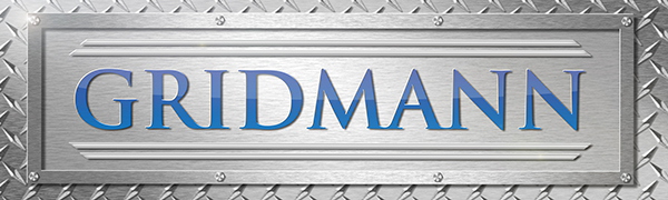 Gridmann logo, stainless steel background, blue wording, steel diamond plate background, rivets