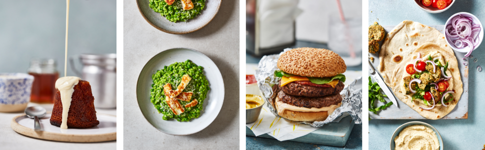 Sticky toffee pudding, Halloumi and pea risotto, 5 girls burger, Vegan falafel flatbreads