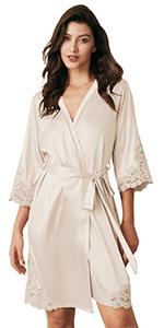 B08YDJFL62-Short Satin Lace Trim Kimono Robes