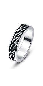 Men's 925 Sterling Silver Rings Chain Celtic Knot Wedding Band Engagement/Daily Rings