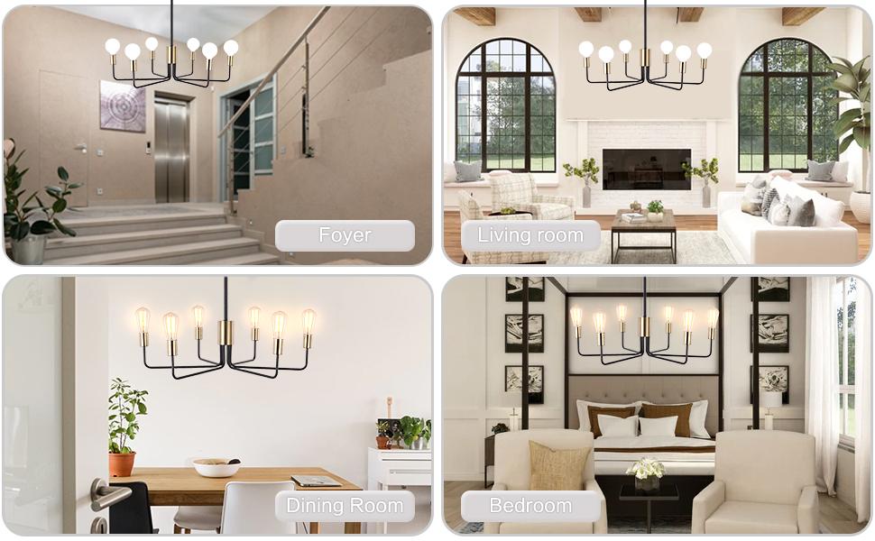 6 Light Gold amp;amp; Black Chanderlier for  Living Room Dining Room Bedroom
