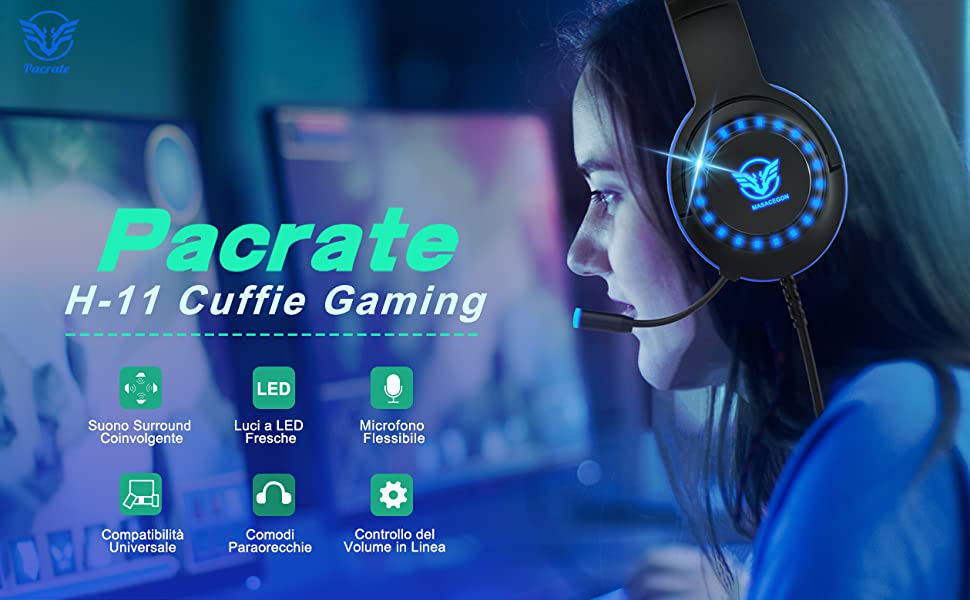 Pacrate Cuffie Gaming