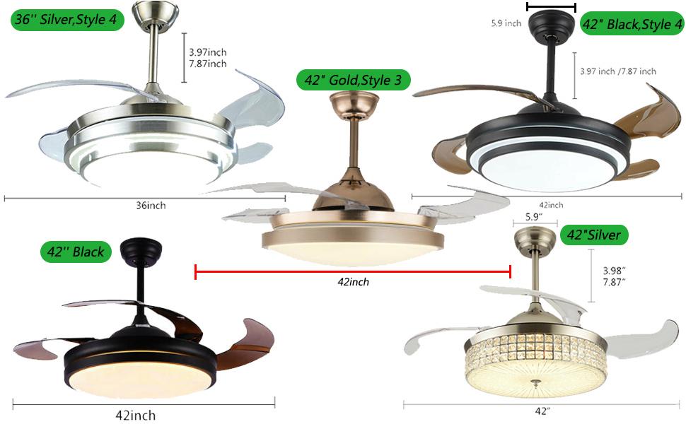 36inch 42inch Retractable Ceiling Fan Lamp