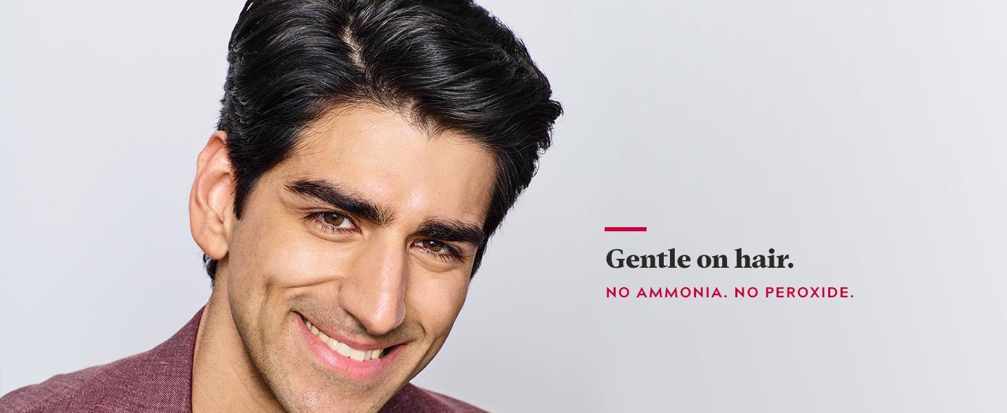 Gentle on hair. No ammonia. No peroxide