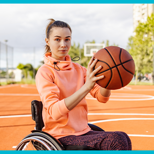 Woman playing wheelchair basketball