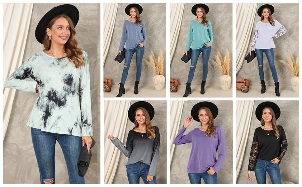 women long sleeve base t shirt tops tunic blouse