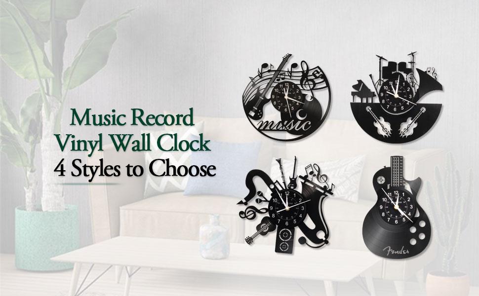Music record wall clock