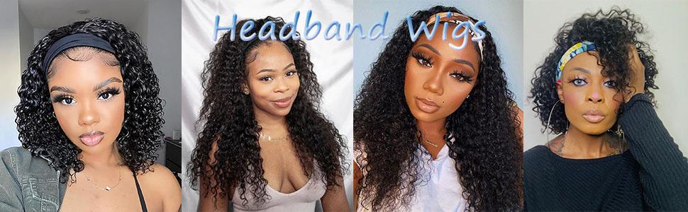 headband wig human hair bob