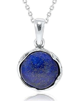 925 Silver Plated FACTORY DIRECT Art Jewelry Navy Blue LAPIS LAZULI Pendant