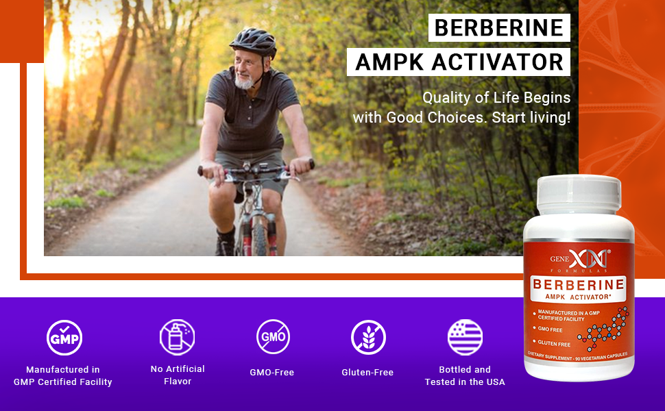 Genex Berberine AMPKActivator G M P Bottled and Tested in the U S. G M O and Gluten Free