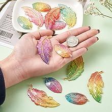Rainbow Leaf Pendants