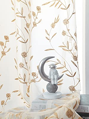 Floral Pattern Window Treatments Rod Pocket Drapes for Living Room, Semi Voile Curtain Panels