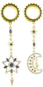 Blue Crystal Moon Star Golden Dangle Ear Gauges Piercing Flesh Tunnels
