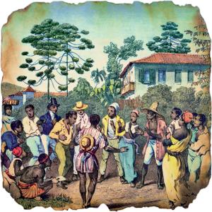 Festas e batuques negros: herança africana criticada e reprimida pelas autoridades coloniais.