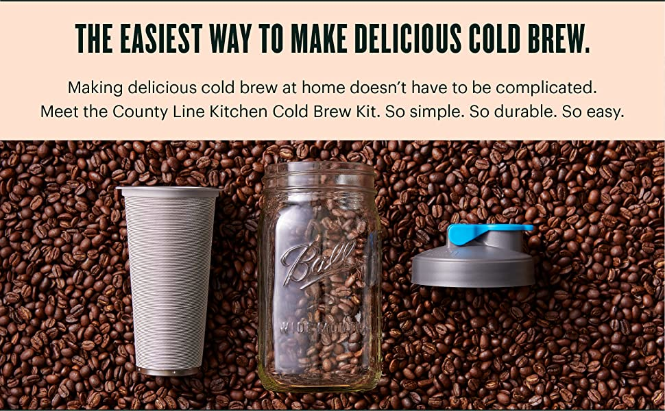 Make delicious cold brew at home with the easy to use, County Line Kitchen Cold Brew Kit.