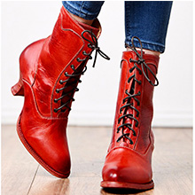 red goth boots