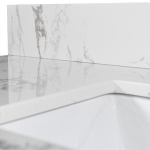 Bathroom Vanity Sink White Carrara Marble Countertop Faucet Hole Back Splash for Bathroom