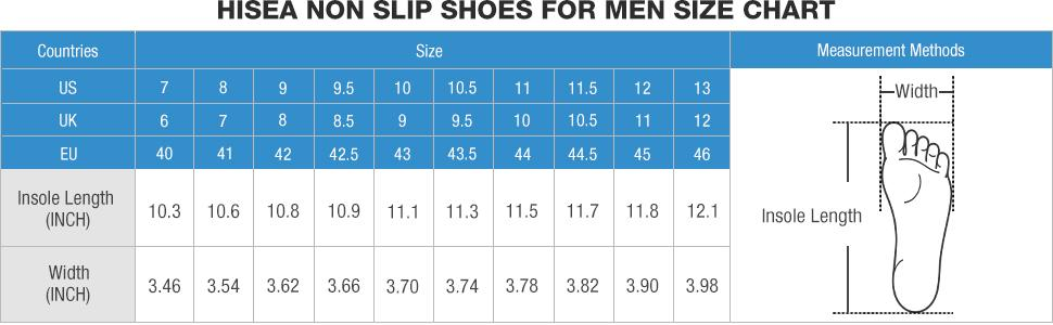 non slip shoes  size chart