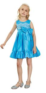 Kidikidi Flower Girls Dress,Little Girls Sleeveless Dress Party Wedding Bridesmaid Skirt