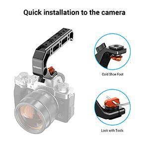 Camera hot shoe top handle