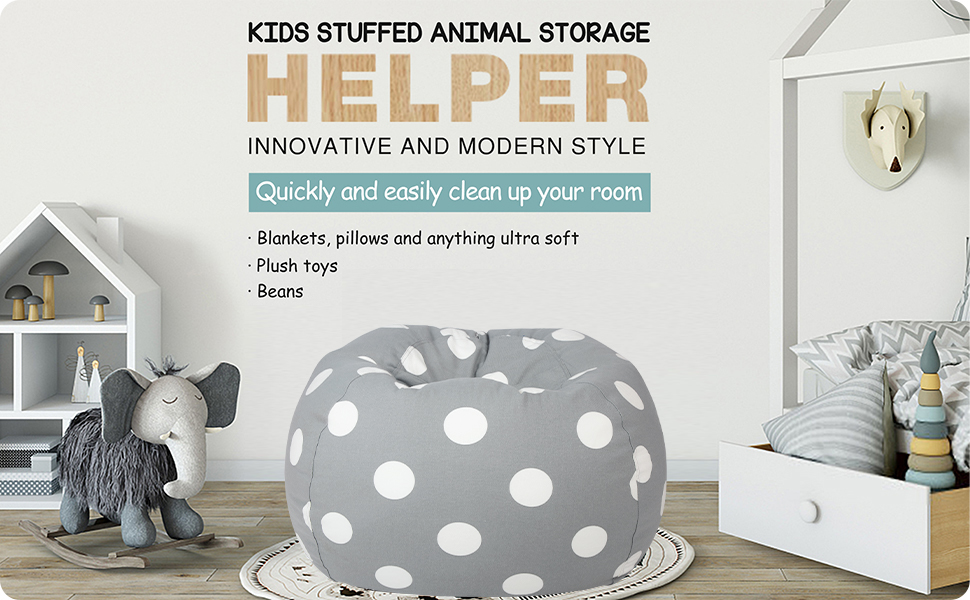 stuffed animal storage bean bag chair cover only